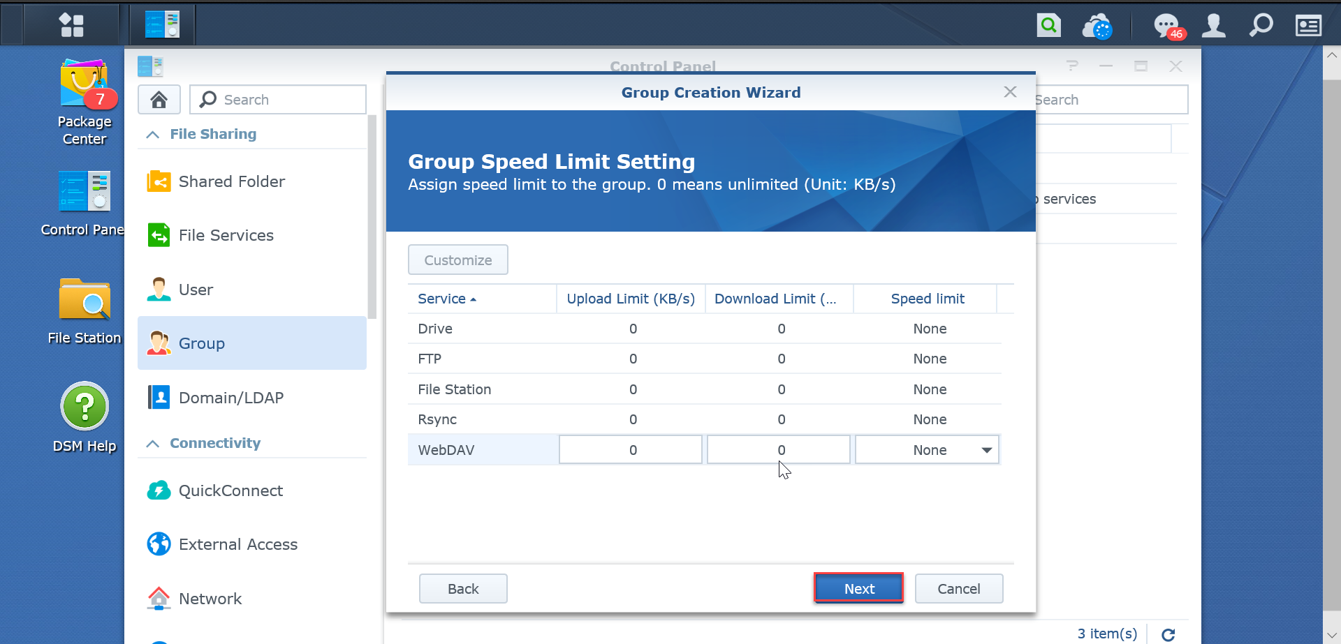 Group-speed-limit-setting-SynologyNAS-synologyvietnam.vn