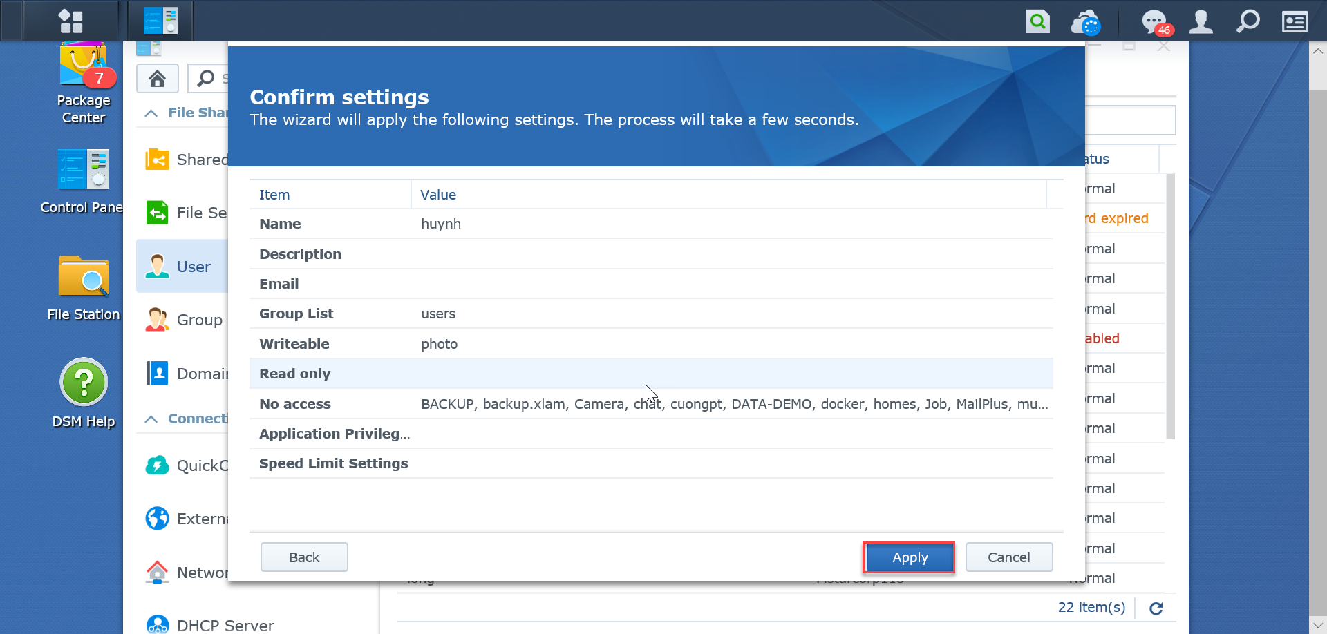 Comfirm-setting-SynologyNAS-synologyvietnam.vn