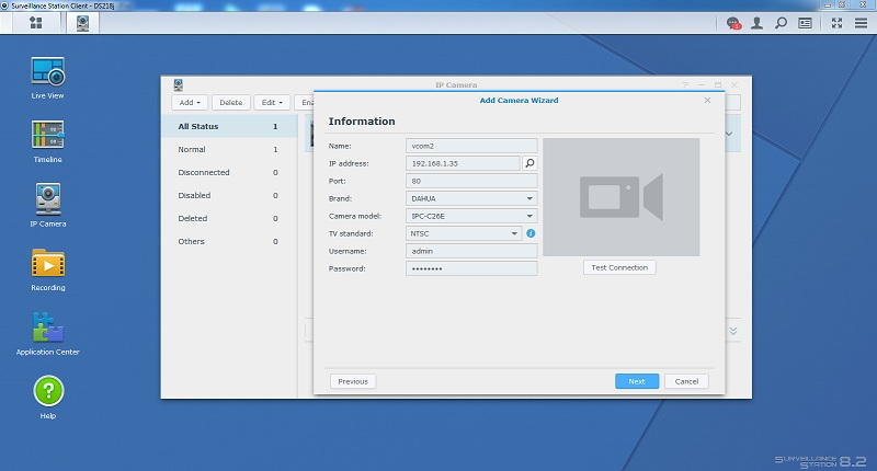 add camera vào NAS Synology