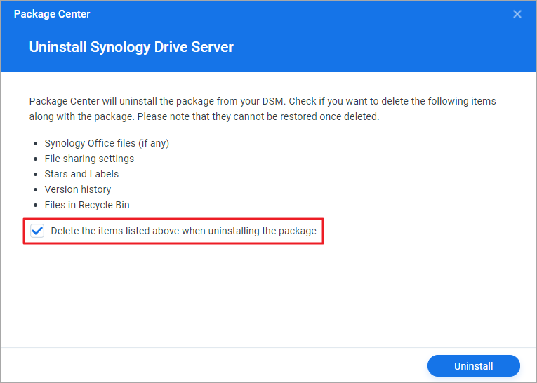 Uninstall Synology Drive Server