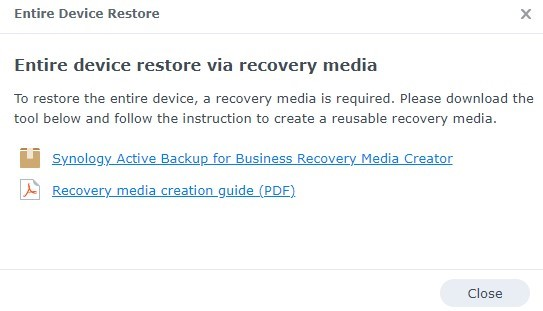 Tải xuống Synology Active Backup for Business Recovery Media Creator