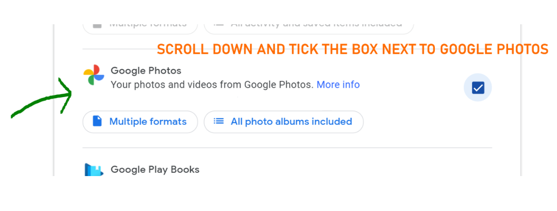 scroll down and tick the box next to google photos