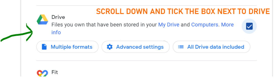 scroll down and tick the box next to drive